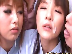 Lovely Nurses Sucking and Sharing a Cock part4
