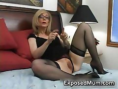 Blond mum in glasses licking hard part2