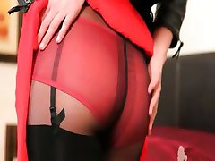 Brunette pornstar in black pantyhose