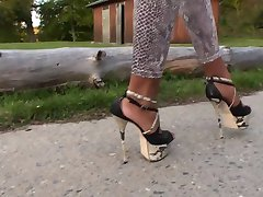 Schlangenleggings - Schlangen High Heels