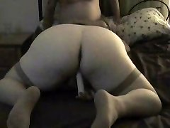 First-timer wife in stockings gives head and gets romped