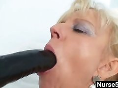 Old blonde milf stuffing coochie with good-sized dildo