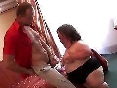 Gross Mature PLUS-SIZE Midget Sucks Fucks and Facialed