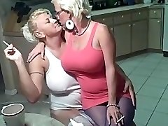 Smoking lesbian babes big tits