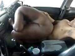 black couple screwing in the truck