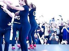 Fantastic girl dancing in leggings