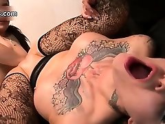 Nasty tatted slut gets her hairless part3