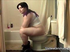 Chubby Damsel Using the Bathroom