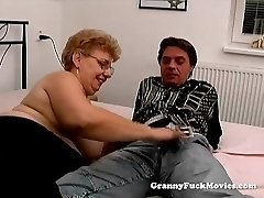 A overweight granny has sex
