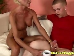 Jacking granny gets some cream from a midget
