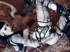 Goth babe RazorCandi plays with butt plug and big black dildo