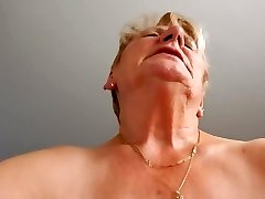 Grannie rides hubby and tries not to moaning