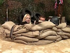 Sexy blonde and brunette soldiers get rigid plow in a trench