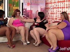 Four plump leabians sizzling hot fucky-fucky