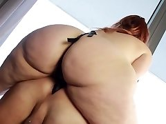 BBW takes control with her belt dick