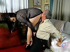 Super sexy fatty in fishnet bondage suit gets spilled with cum