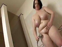 Fat tit BBW take a douche
