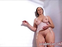 Sexy Cougar Julia Ann Lathers Her Big Breasts in Shower!
