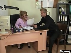 Older office boss makes him fuck her hard