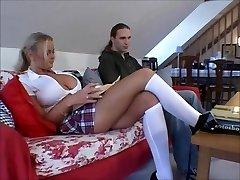 Busty blonde schoolgirl Nicole gets smoothly-shaven pussy boned