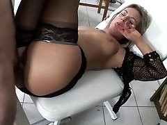 Dr handles horny pussy with a shave and hard weenie