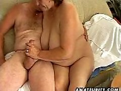 Chubby mature inexperienced wife deep throats and fucks