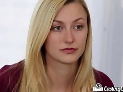 Audition Couch-X Ash-blonde cheerleader shows off