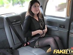 Faux Taxi big facial cum shot for brunette in tights