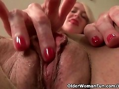 American mother i'd like to fuck Eva Griffin fingers her nyloned juicy pussy