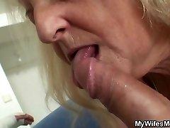 Blonde elderly granny rides his big dick