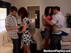 Trendy honies fucking at swingers party