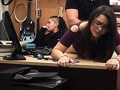 Shop Lifting Dark-haired In Glasses Takes Facial In Pawn Shop