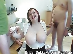 Plump ample titted Scottish readhead in glasses is cum over