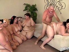 5 geile BBWs fucked by 3 cocks