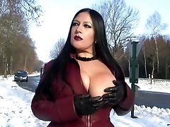 Leather Decorate Flashing in Public - Blowjob Handjob with Leather Gloves - Cum on my Orbs