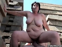 Grandmother works hard on grandpa's puny dick