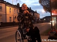 Leah Whim demonstrating pussy in public from her wheelchair with handicapped