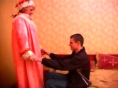 Mature plump russian doll in pantyhose & a young guy