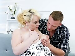 Young dude smashes nextdoor chubby housewife Natalie while her husband is on a biz journey