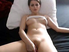 Sexy babe nipps fingering corpulent cameltoe pussy