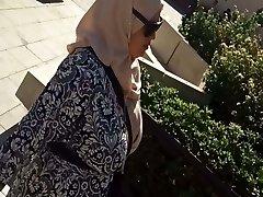 Arabian chubby milf with huge natural hooters spy in street