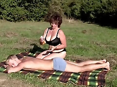 Dark-haired Plumper-Milf Outdoors by Young Guy