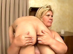 BBW breaks and humiliates weak warm blonde