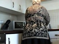 Sweet grandma demonstrates hairy pussy big bootie and her boobs