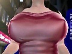 Sweet 3D manga porn babe gets big titties sucked