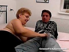 A plump granny has sex