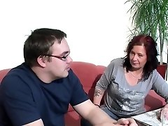 German Mom Helps Her Ugly Step-Son with First Ravage