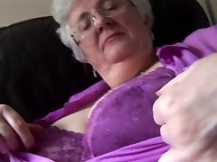Granny with xxl breasts upskirt no panties tease