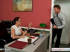 Office honey in glasses Kortney Kane penetrating