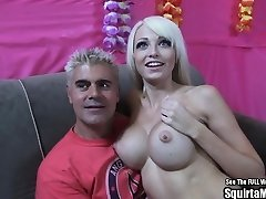 Rikki Six Big Boob Blonde Bimbo Busts and Sucks Cock